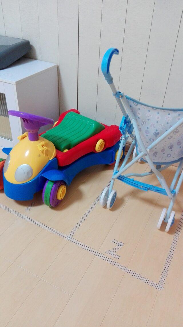 【簡単に作れる】おもちゃの車の収納ならこれ!マスキングテープで駐車場を作ろう!